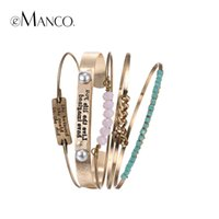 eManco Trendy Ethnic Multi Layer Statement ID Braceletes Bangles para Mulheres Pink Crystal Gold-Plated Separable Jewelry