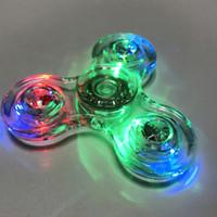 Wholesale Wholesale Ceramic Balls - 2017 Fidget Luminous Fidget glitter Spinner Led Spinner Hand Spinner Tri Fidget Ceramic Ball Desk Focus Toy EDC Gyro Toys handspinner OTH440