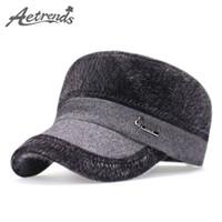 gorras de béisbol de piel sintética al por mayor-Al por mayor- [AETRENDS] 2017 sombreros planos de invierno con Earflaps rusos calientes de piel sintética gorra de béisbol hombres Z-3987