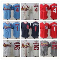 Wholesale Smith Men - Men's St. Louis Cardinals #1 Ozzie Smith Jersey #4 Yadier Molina jerseys Stitched #25 Dexter Fowler Jersey Throwback Replica Baseball Jersey