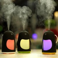 Wholesale Usb Freshener - Color Portable Penguin Humidifier Mini Night Light USB Humidifier Air Purifier freshing tool mist makercolor change freshener 2016 sale