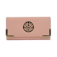 Wholesale Vintage Pink White Coin Purse - Simple Lady Wallets Holders Vintage Black Plain Long Three fold Hasp Clutch Bag Credit Card Package Multi-bit Fashion Women Purse VKP1391