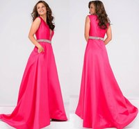 Wholesale Sexy Dress Ballgown - 2017 Free Shipping Satin V Neck Fuchsia Embellished Silver Belt Prom Dress Ballgown With Pleated Skirt Formal Evening Dress HY1662