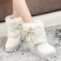 Mulher Fur Wedge Platform Botas de salto alto 2017 Winter Women's Plush Rivets Martin Black White Ankle Boots com Bowtie