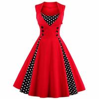 ropa puntos al por mayor-Las mujeres Vintage vestidos Audrey Hepburn Dot cintura alta vestido de halter Casual vestido de bola Vestidos largos de moda las mujeres de primavera y verano ropa 25