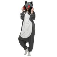 Wholesale xl adult animal women costumes online - Brand New Unisex Adult Kigurumi Pajamas Wolf Costume Cosplay Animal Onesies Men Women Cartoon Sleepwear Jumpsuit