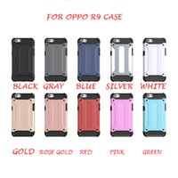 Wholesale Oppo Cell - For OPPO R9 A59 Steel Armor Phone Cover TPU PC Metal Simple 2 in 1 Fashion Cell Phone Case