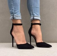 Chaussure Femme Talon Moda Sexy Shallow Stilettos Party Shoes Mulher Fivela Strap Senhoras Bombas Black Suede Pointed Toe Heels