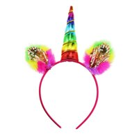 Wholesale Animal Litter - Unicorn baby headbands kids accessories colorful animal horn Sequin feather Birthday Hair Band litter Party Costume Accessories C2129