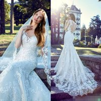 Wholesale Cheap Beads Pearls Necklaces - 2017 Vintage Mermaid Wedding Dresses Bridal Gowns Lace Appliques African Cheap Sexy Long Court Train Sheer Necklace Plus Size Wedding Dress