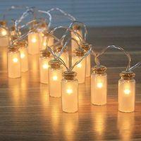 Wholesale Glass Wish Box - Wholesale- Glass Wishing Bottle Style Lights 20 LED Drift Bottle Battery Box Light String Wedding Decorative Christmas Lights
