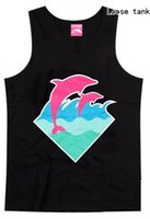 Wholesale Pink Dolphin Vest - Wholesale- 2017 new style casual hip hop o-neck 100% cotton pink dolphin men's tank tops handsome for men vest plus size XXXL streetwear