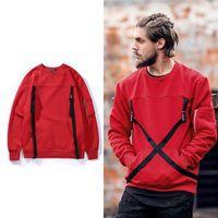 Wholesale Original Sweatshirts - 2017 men new Original Japanese harbor wind retro round neck cashmere Sweatshirts men Webbing hedging hoodie Hip Hop pullover Sweater