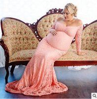 Wholesale Wholesale Shooting Sleeves - Sexy slash neck long dress lace elegant maternity gown photography dress for lady photo shoot women pregnancy Floor-length long dress T0114