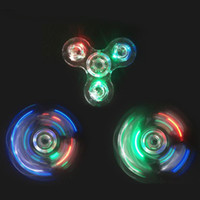 Wholesale Led Novelty Light Hands - Crystal LED Light Fidget Spinner Toy Triangle Hand Spinners ABS hand spinner EDC Finger Tip decompression Novelty Rollver Cube Toys DHL