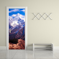Wholesale Mountain Posters - Snow Mountain Ama Dablam Imitation 3D Door Mural Sticker PVC Creative Living Room Bathroom Waterproof Poster Home Decor Wall Sticker