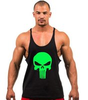 Wholesale clothes printing equipment - 2017 New Skeleton head print Singlets Mens Tank Tops Shirt Gyms Bodybuilding Equipment Fitness Stringer Tank Top Clothes