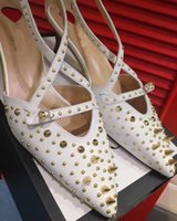 Wholesale Evening Woman Shoes - new arrival 2017 pink high heels rivet wedding shoes women genuine leather pointed toe shoes for weedding party evening