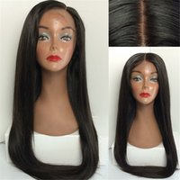 Wholesale Wig Hair Human High Light - High Quality 1B Silky Straight Mongolian Virgin Human Hair High Ponytail Front Lace Wig Free Shipping