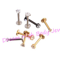 Wholesale black labret jewelry for sale - Group buy New Arrival Lip Stud Labret Piercing Ring Clear CZ Gem Zircon L Stainless Steel Gold Black Round Heart Five Star mm mm