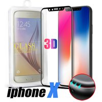 Wholesale Screen Covers For Iphone - For iPhone X Samsung Note 8 Full Cover Screen Protector Tempered Glass For S8 Cover Whole Screen 3D Curve Screen Protector With Retail Box