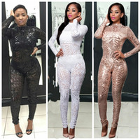 Wholesale Womens Sexy See Through Jumpsuits - 2017 Rompers Womens Jumpsuit Romper Sexy bangage see through Sequin Jumpsuit Women Mesh Long Sleeve Bodycon Rompers Playsuits