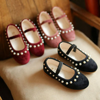 Wholesale Toddler Crystals Shoes - Preppy Style Fashion Girls pearl crystal princess Dress Shoes Children Spring Autumn Toddlers baby Kids sweet Footwear Casual Shoes A252