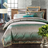 Wholesale Washed Silk Quilt - Europe Style 4 6pcs Green Jacquard Satin bedding set king queen Luxury Tribute Silk quilt duvet cover bed linen bedclothes set home textile