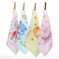 Wholesale Ordering Bamboo Cotton Wholesale - Pure cotton face towel 25*25cm Cute cartoon printing child baby children saliva towel Mixed color design orders