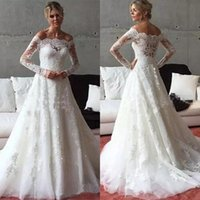 Wholesale Cheap Covers China - Elegant 2017 Off The Shoulder Lace Wedding Dresses With Illusion Long Sleeves Cheap Applique Long Bridal Gowns Custom Made China EN6061