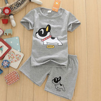 Wholesale Dog Boy Set - New Boys Clothes Short Sleeve T Shirt + Shorts 2pcs set O-neck Dog Pattern Boys Clothing Set Gray Children Clothing