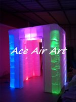 Wholesale Photo Booth Tent - high quality RGB lights inflatable cube led strip photo booth with 16 colors for events