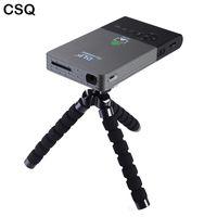 wifi tragbarer projektor android großhandel-Großhandels- CSQ DLP Voller HD Projektor beweglicher Miniprojektor DLNA Android 8/16 G 5000 Milliamperestunden-Batterie HDMI Wifi Bluetooth Projektor Beame