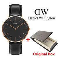 Wholesale Wristwatch Women Leather Orange - New Daniel watches 40mm Men watches 36mm women watches Luxury Brand Quartz Watch Female Clock Relogio Montre Femme Wristwatches watch box