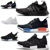 Wholesale Plastic Salmon - New 2017 NMD Runner R1 Salmon Talc Cream Olive Triple Black Men Women Running Shoes Sneakers Originals Fashion NMD Runner Primeknit Shoes