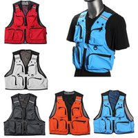 Wholesale Waterproof Mens Vest - Free Shipping Fishing Multi Pockets Vest Mens Outdoor Fishing Clothes Male Vest Overalls Wear Photography Vests