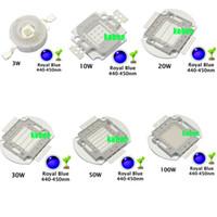 ingrosso il circuito integrato 3w ha colto la luce-All'ingrosso - High Power Royal Blue LED Grow Chip 440nm 450nm 1W 3W 5W 10W 20W 30W 50W 100W COB LED Emettitore Lampadina per DIY LED Pianta Grow Light