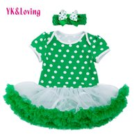 Wholesale Lace Ruffle Girls Dress Headband - St Patricks Day Baby Girls Cotton Dress Romper Ruffle Lace Jumpsuit Tutu Dress Headband Green Newborn Kids Clothes Set Party Clothing RD143S