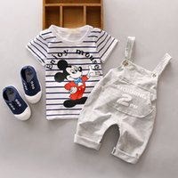 Wholesale Girls Hooded T Shirt - 2Pcs Baby Boy Girls Cotton T-shirt Hooded Bib Pants Toddler Clothes Set Outfits