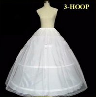 elbise eteğinde kayma toptan satış-Stokta Petticoats Düğün Balo Topu 3 Hoop Kemik Tam Kabarık Etek Petticoats Gelinlik Düğün Için Etek Aksesuarları Kayma