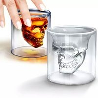 Wholesale double wall heat resistant glasses resale online - Creative Clear Wine Glasses Skull Head Double Wall High Borosilicate Glass Cup Heat Resistant Tumbler Personality am BB