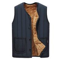 Wholesale Mens V Neck Fleece - Wholesale- #3121 2016 Vest men autumn winter Mens vest Fleece Mens warm vest Sleeveless jacket men Middle aged Waistcoat Gilet homme