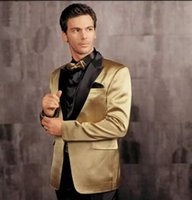 Wholesale Khaki Pants Gold Bows - Gold Jacket With Black Lapel Groom Tuxedos Groomsmen Blazer Wedding Clothing Prom Dress Suits (Jacket+Pants+Girdle+Bow Tie)