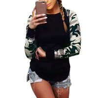 Wholesale Women S Casual Wear Wholesale - Wholesale- Fashion Women Camouflage T-Shirts Crew-Neck Long Sleeve Casual Tops Tees Woman Street Wear CY1