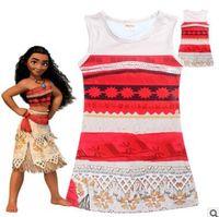 Wholesale Wholesale Beach Sundresses - Girl's Cartoon Dresses 2017 Summer Moana Princess Sundress Outwear Sleeveless Nightwear Kids Clothing Baby Girls Clothes Girls Dresses 4-12Y