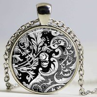 Wholesale Black White Cabochon - Victorian Design Textile Necklace Vintage Black and White Pendant Handmade Fashion Jewelry Gift for Women Girls Glass Cabochon