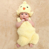 Wholesale Hat Costume Romper - 2pcs set Newborn Baby Chick Costume Knit Crochet Romper Hat Photo Photography Prop Outfit Hot Sale With Free Shipping