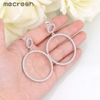 Wholesale Jade Round Silver Earrings - Mecresh Silver Pink Color Crystal Round Drop Earrings for Women Bridal Wedding Long Earrings for Bridesmaid MEH775