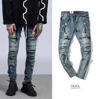 Wholesale cut loose pants - High Street Men Ripped Slim Fit Jeans Kanye West Knee Cuts Distressed Long Pants Vintage Light Blue Trousers