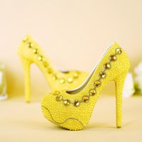 Wholesale imitation designer shoes - 2017 New Designer Yellow Bridal Shoes Handmade Pearl Wedding Party Shoes Lady Formal Dress Shoes Stiletto Heels Prom Pumps